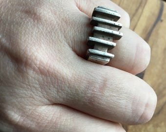 Modernist parallel planes sterling silver ring
