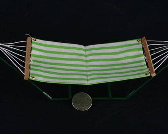 Green Stripe Hammock: Handley House, fairy garden supplies, fairy garden, dollhouse, miniature, Aztec