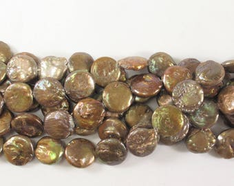 Copper Brown Coin Pearl 11 to 12 mm, Genuine Freshwater Coin Pearl, Brown Coin Shape Freshwater Pearl, Bronze Coin Pearl (63-CBN1112)