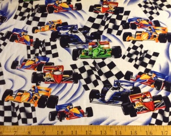 Race cars cotton fabric by the yard