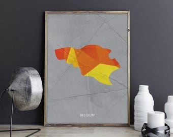 Belgium Art Belgium Wall Art Belgium Wall Decor Belgium Photo Belgium Print Belgium Poster Belgium Map Country Map Watercolor Map