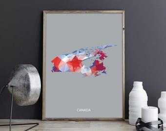 Canada Map Canada Art Canada Wall Art Canada Print Canada