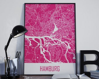 Hamburg Map Hamburg Travel Map Hamburg Street Map Hamburg Map Photo Hamburg Map Print Hamburg Map Art Hamburg Map Poster Hamburg Wall Art