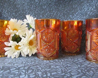 Imperial Carnival Glass Star and File Tumblers (4)