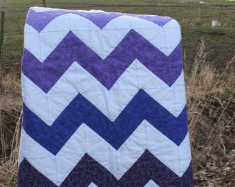Nursery hombre baby girl nursery quilt purples hand quilted flannel backed