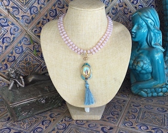 Long Pink Crystal Necklace with Turquoise Mother Mary Pendant