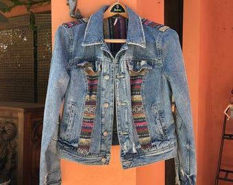 Upcycled Jean Jacket by Free People Bohemian Southwest