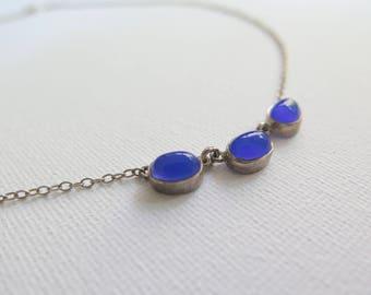 Lovely vintage blue chalcedony necklace