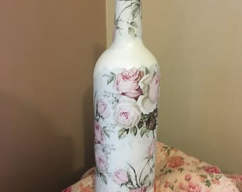 Rose Decoupage Bottle