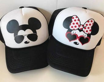 Minnie and Mickey ADULT Hats / Couples Hats / Disney Hats / Minnie Sunglasses / Mickey Sunglasses / Black and White / Snapback Truck Hats