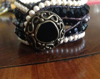Black pearl beaded leather cuff