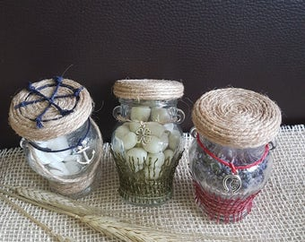 Candy jars, glass jars, mason jars, burlap jars babyshowergifts/weddinggifts