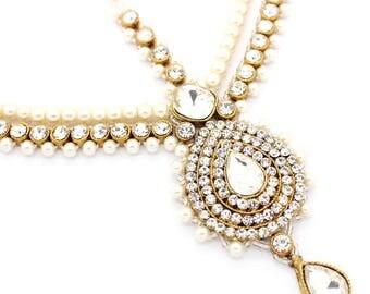 Gold Silver Kundan Stone Pearl Indian Matha Patti Headpiece Head Chain Tikka Bridal