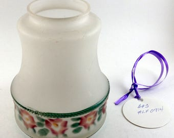 Antique Bridge Lamp Shade - Hand Painted - Roses -Frosted Glass -Vintage