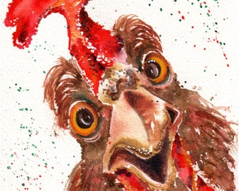TOPSY an original watercolour painting of a Crazy Rooster.  Barnyard country chic decoration for your home or office or a hostess gift