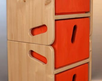 Children set with two stools and three drawers