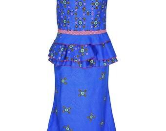 yalina(YTC) Ankara set, Maxi skirt + top print dress, African fashion, JAVA clothing set, art. Nr. LRTD-201704/00016