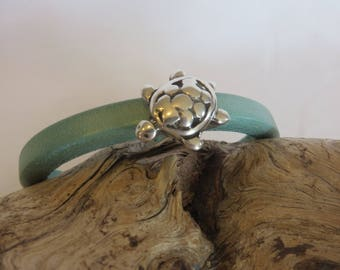 Women's Leather Bracelet with Sea Turtle Charm