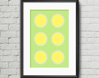 6 Yellow/Grey Circles I - Art Print