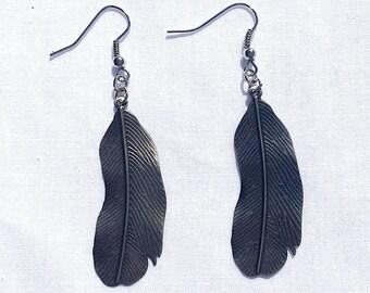 Metal Feather Earrings