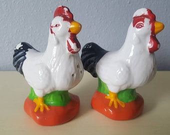 Rooster salt and pepper shakers Houston Harvest co.