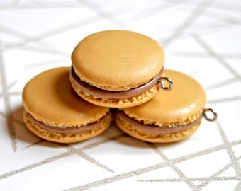 3 polymer clay french macaron charms, size 20mm - miniature macaron, polymer clay charm