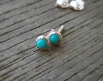 Turquoise Stud Earrings, 3mm Turquoise Earrings, Sterling Silver Studs, Turquoise Jewelry, Post Earrings, Serrated or Round Bezel