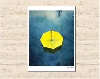 Yellow Umbrella Watercolour Painting Postcard Poster Art Print Q187
