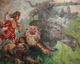 Antique oil painting large impressionist portrait Tarzan animals