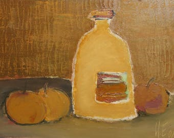 Expressionist still life with apples and bottle oil painting signed
