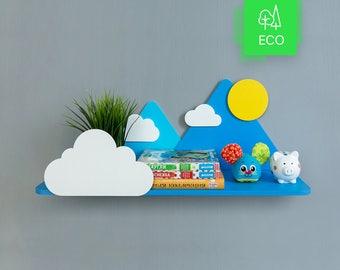 Mountains, clouds and Sun shelf   Shelves   Home decor   Home Décor   Shelfing   Shelfings   Gifts   Hanging   Wall Décor   Gifts for kids