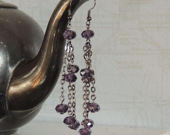 Long earrings with Amethyst beads