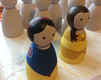 Hand painted princess wooden dolls