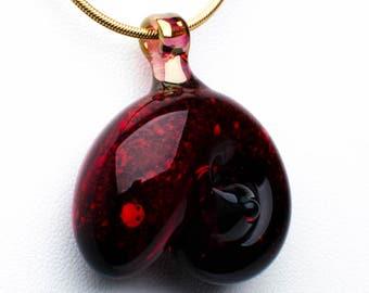 Garnet Glass Nautilus Pet Cremation Pendant