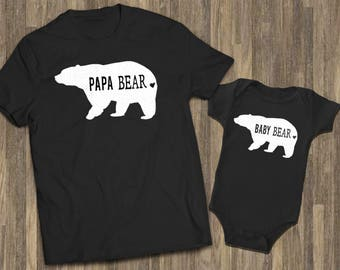 Papa Bear Baby Bear Black| Matching Baby Dad | Baby Reveal Dad,Newborn Dad Matching | Dad Baby Baby Outfit | Daddy Baby Shirts | Father Baby