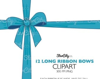 Bow clipart, Long Bow Clip Art, Ribbon Clipart, Bow Graphics, Colored Ribbon graphics, Long Ribbon clipart, Commercial Use, instant download