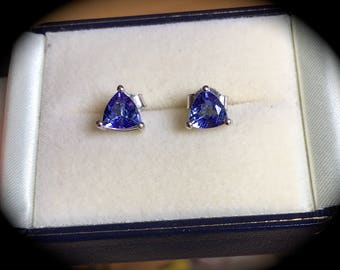 Tanzanite & Diamond Earrings 9ct White Gold  - 'Certified'  Exquisite Colour!