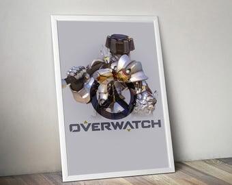 Overwatch REINHARDT Poster, Game Poster, Flat Print Design, Digital Printable Poster, Blizzard wall art, Instant Download, game art