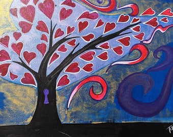 Love Tree, 11X14 Acrylic in Canvas Painting