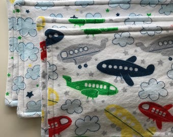 Airplane and Clouds Burp Rags, set of 4