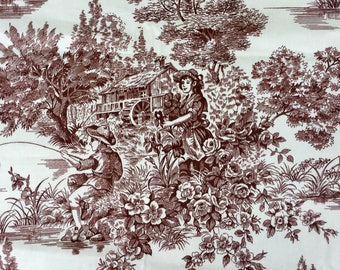 """Woodland Toile by Waverly - Stunning Pastoral Print - 1-1/8 yds x 56"""""""