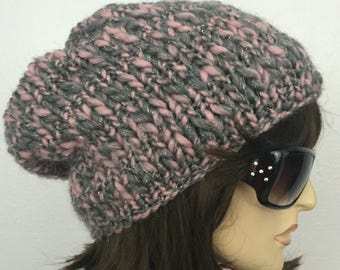 Women Knit Hat Slouchy Hat Women Winter Hat Gray and Pink Hat Women Accessories