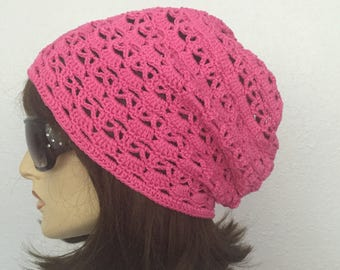 Women Crochet Summer Hat Women Summer Slouchy Beanie in Hot Pink Women Spring Hat