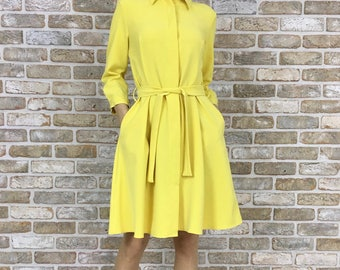 Stylish office evening women dress Lemon Yellow colour with belt and HIDDEN buttons