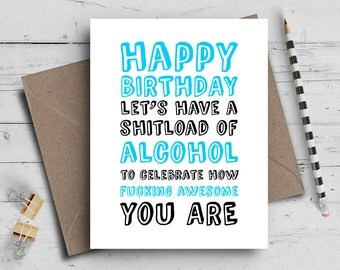 Happy Birthday Card | Alcohol Card | Typography Card