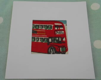 Blank card with Cath Kidston, London Bus, fabric insert