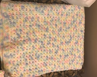 Beautiful Pastel MultiColored Baby Afghan,crocheted