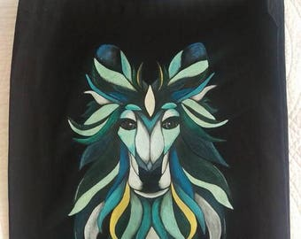 hand painted Blue wolf  tote canvas bag