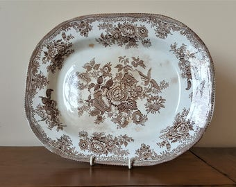 Transferware 14.5 inch 19th c asiatic chinoiserie brown and white Asiatic Pheasants platter