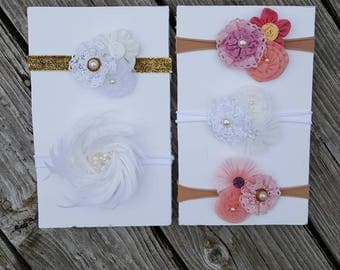 Nylon baby headbands/ white feather headband/ flower headband